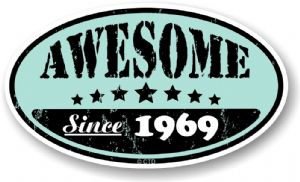Distressed Aged Awesome Since 1969 Oval Design External Vinyl Car Sticker 70x120mm